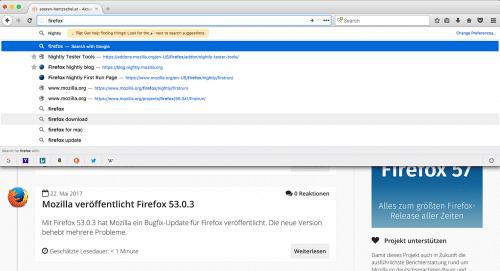 Adressleisten-Suche Firefox 55