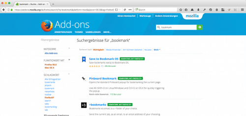 WebExtensions auf addons.mozilla.org