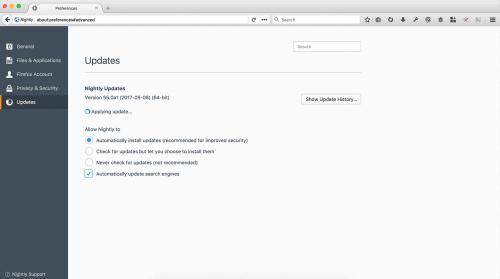 Einstellungen Firefox 55 Updates