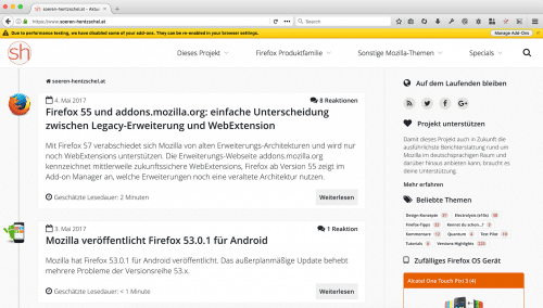 Legacy-Erweiterungen Firefox 55 Nightly