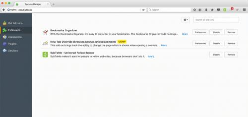 Kennzeichnung Legacy-Erweiterungen in Firefox 55