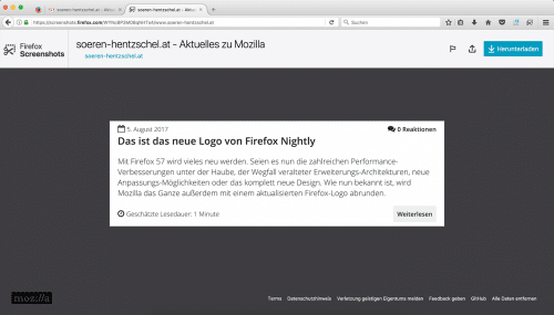 Firefox Screenshots in Firefox 55