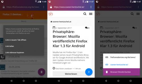 Firefox Klar mit Tabs