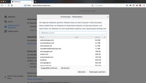 Lokale Datenbanken löschen - Firefox 57