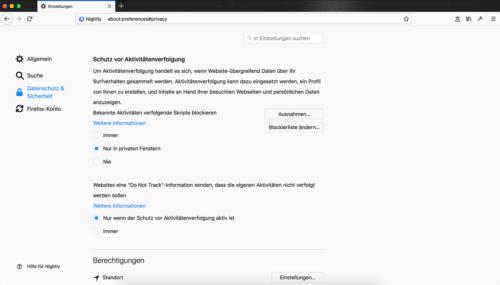 Tracking-Schutz in Firefox 57