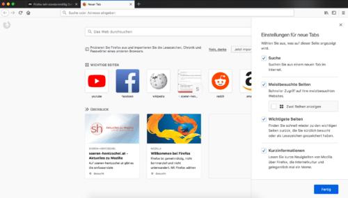 Firefox Quantum Neuer Tab: Optionen