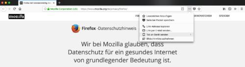 Firefox Quantum Seiten-Menü