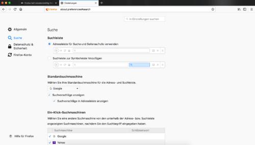 Firefox Quantum Sucheinstellungen