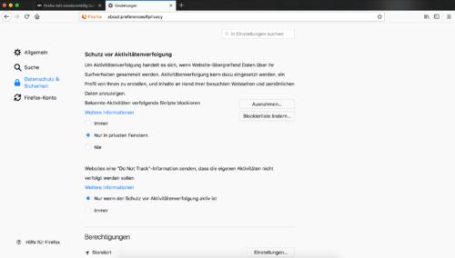 Firefox Quantum Tracking-Schutz