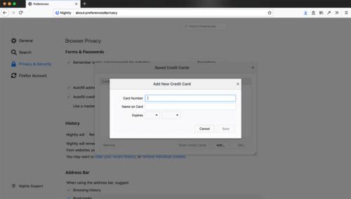Firefox 58 Kreditkarteninformationen
