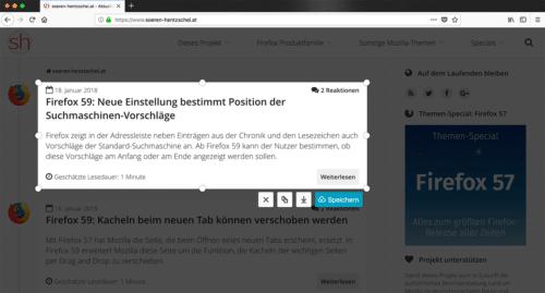 Firefox Screenshots in Firefox 58