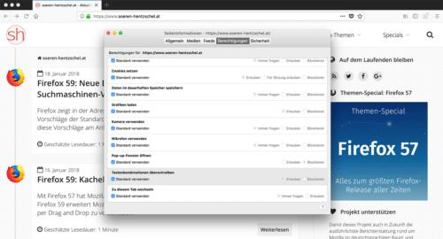 Firefox 58 Tastenkombinationen überschreiben