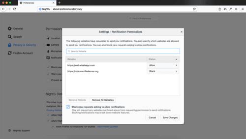 Firefox 59 Berechtigungs-Einstellungen