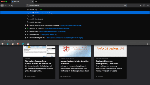 Dunkles Theme in Firefox 61