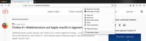 Firefox 61: Suchmaschine hinzufügen