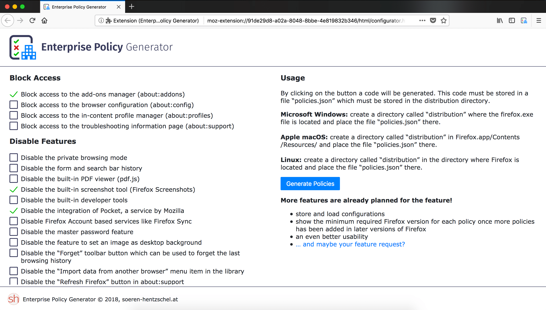 Firefox im Unternehmen konfigurieren: Enterprise Policy