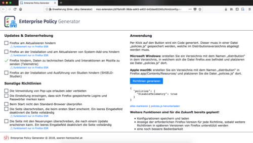 Firefox Enterprise Policy Generator Vorschau