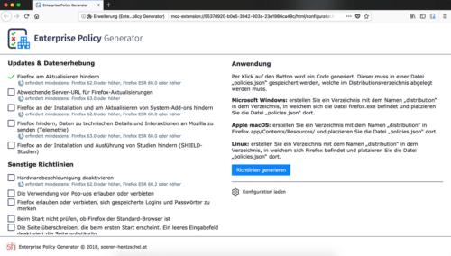 Enterprise Policy Generator zum Deaktivieren von Firefox-Updates