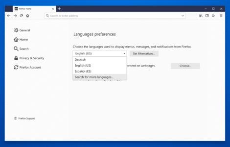 Firefox Sprach-Einstellungen