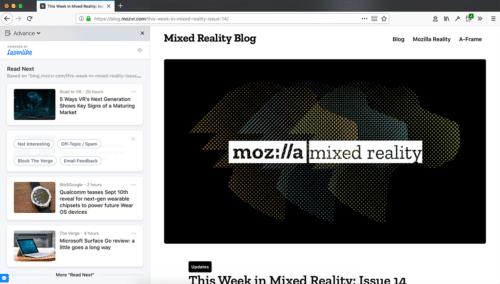 Firefox Advance Content-Empfehlungen