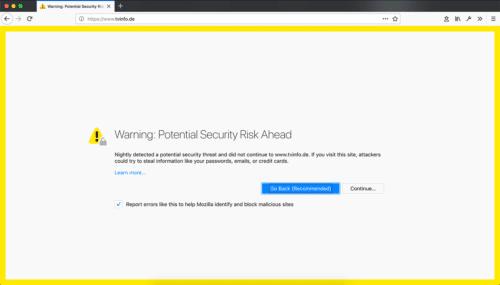 Firefox 63 Zertifikats-Fehler