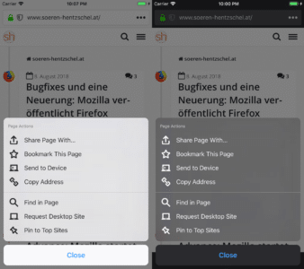Dark Theme in Firefox 13.0 für Apple iOS