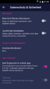 Firefox Klar für Andorid: per Fingerabdruck entsperren
