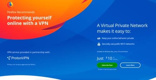 Mozilla und ProtonVPN