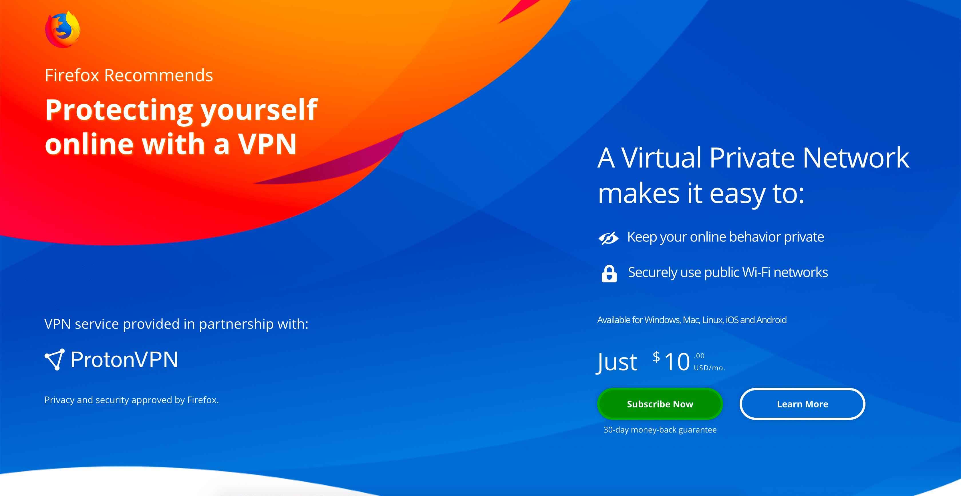 Mozilla Firefox започва тестването на VPN услуга 7