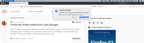 Schließen-Warnung Firefox 65