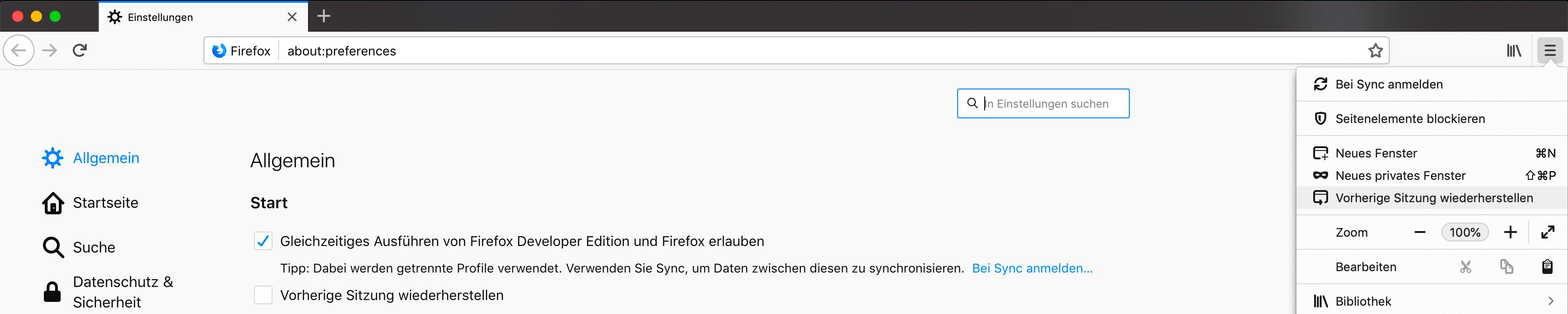 Sitzungswiederherstellung Firefox 65