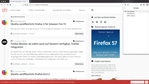 Task Manager in Firefox 64
