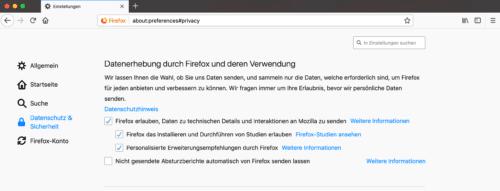 Firefox Studien-Einstellung