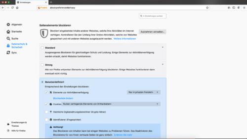 Datenschutz-Einstellungen Firefox 67