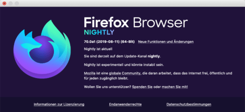 Firefox Nightly 70 Info-Dialog