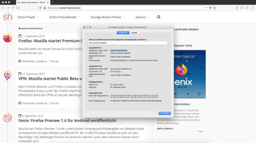 Zertifikats-Betrachter Firefox 70