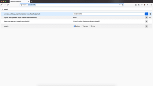 Neues about:config in Firefox 71