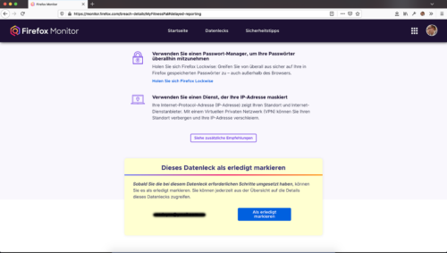 Firefox Monitor - Datenleck als erledigt markieren