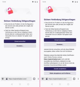 Firefox Preview 4.0 Fehlerseiten