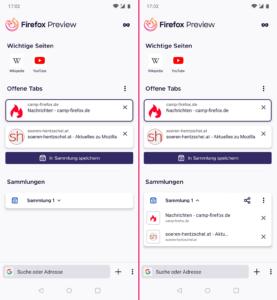 Firefox Preview 4.3 Sammlungen