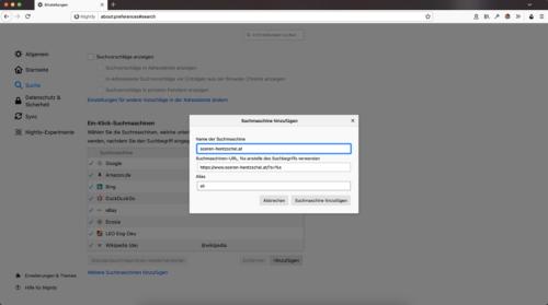 Suchmaschine hinzufügen in Firefox 82