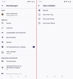 Tabs automatisch schließen, Firefox 81 für Android