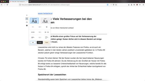 Leseansicht Firefox 86