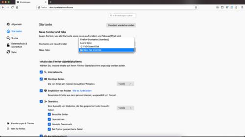 Einstellungen Neuer Tab in Firefox 85