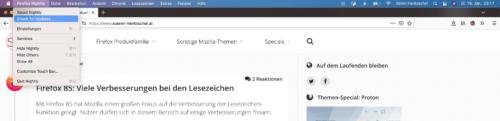 Menüeintrag für Suche nach Firefox-Updates