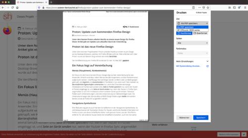 Firefox 86: Seite als PDF speichern