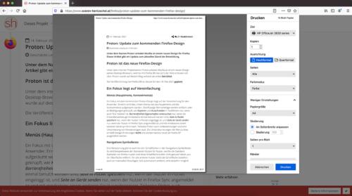 Drucken-Dialog in Firefox 86
