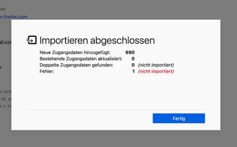 Firefox 86: Dialog nach CSV-Import von Passwörtern