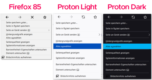 Menú contextual de Proton Firefox
