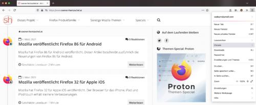 Proton-Menü Firefox Nightly